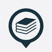 Book icon map pin — Vettoriale Stock