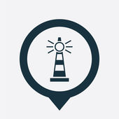 Lighthouse icon map pin — Wektor stockowy