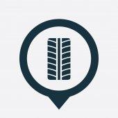 Tire light icon map pin — Stock Vector