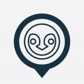 Penguin icon map pin — Vettoriale Stock