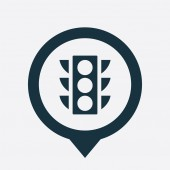 Traffic light icon map pin — Stockvektor