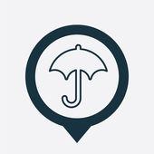 Umbrella icon map pin — Stock Vector