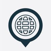Globe icon map pin — Stock Vector