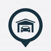 Car garage icon map pi — Stock Vector