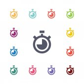 Timer flat icons set — Stock Vector