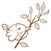 Bird with a sprig. — Stock Vector