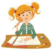 Dziewczynka rysuje obraz. — Wektor stockowy