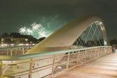 Poland, Krakow, Kazimierz, Bernatka Footbridge, Fireworks — Stock Photo