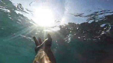Drowning Deep Waters Underwater Hand Reaching Sun Salvation Desperation Failure Hopelessness Help Drown Victim Danger Swimmer Afraid Survival Concept Gopro HD — Stock Video