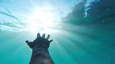 Savior Rescuer Salvation Hand Man Drowning Saved By Lifeguard Underwater Sun Shining Rescue New Hope Second Chance Concept Gopro HD — Stock Video