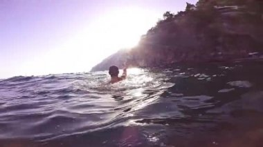 Success Joy Winner Swimmer Water Business Joy Slow Motion Hands Air Screaming Achievement Victory Sun Summer Gopro HD — Stock Video