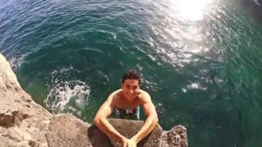 Happy Joyful Active Fit Young Man Jumping Into Ocean Fun Face Swimmer Leisure Time Hobby Freedom Gopro Slow Motion HD — Stock Video