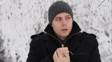 Young Man Freezing Outdoors Winter Cold Frostbite — Wideo stockowe