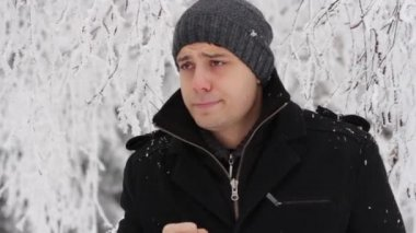 Man Coughing Outside Cold Weather Winter Sickness — ストックビデオ