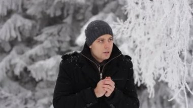 Young Man Coughing Winter Outdoors Freezing Hands — Wideo stockowe