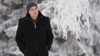Man Walking Coughing Symptoms Sickness Winter Concept — Wideo stockowe