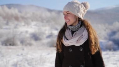 Holiday Cheer Young Woman Smiling Snow Winter Outdoors Weather — ストックビデオ