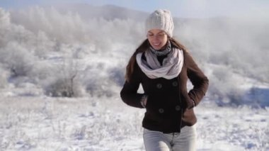 Pretty Young Woman Walking Winter Outdoors Smiling Joy Holidays — Stock Video
