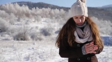 Woman Flu Freezing Cold Winter Outdoors Frostbite — Wideo stockowe