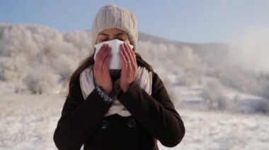 Woman with Flu Blowing Nose Outdoors Winter — 图库视频影像