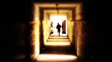 Stressed businessman running away looking back light HD — Vídeo stock