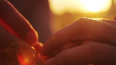Proposal Putting on Engagement Ring sunset hands — Stock Video