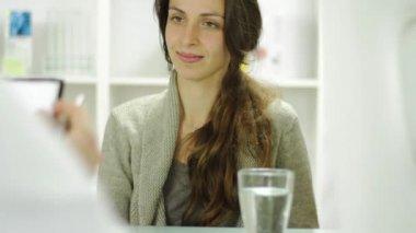Beautiful Woman Taking Prescription Doctor Office — Stock Video