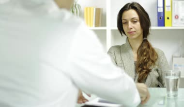 Female Model Accepting rx Prescription Medical Doctor Office — Stock Video