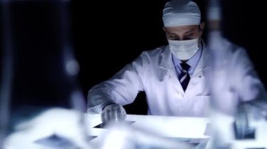 Investigator Solving Crime Evidence Searching Laboratory — Stock Video