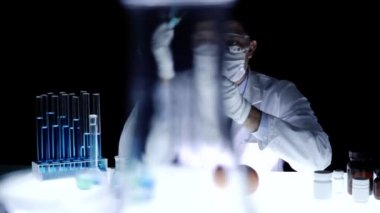 Chemist Injecting Fruit with gmo genetic mutation concept — Stock Video