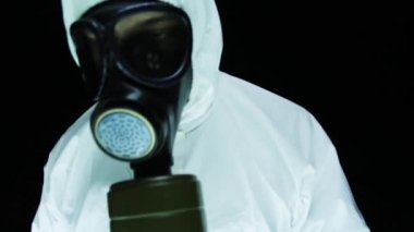 Biohazard Suit Chemical Weapon Lab — Stock Video