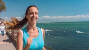 Young Fit Active Woman Running Boardwalk Sea Ocean Summer Morning Day Smiling Laughing Joy Happiness Slow Motion Coastline HD — Stock Video