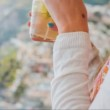 Woman Hands Holding Cocktail Tropical Beach Escape Holiday Vacation Relaxing Ocean Waves Island Mountain Beautiful View Europe Mediterranean Uhd — Stock Video #72472567