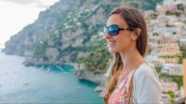 Beautiful Woman Smiling Happy Joy Joyful Happiness Vacation Tropical Destination Beach View Island Mediterranean Sea Ocean Travel Concept Uhd 4K — Stock Video