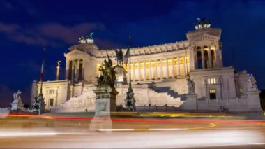 Rome Capitol Italy Roman Piazza Travel History Architecture Italian Square Sculpture Statue Old Building Ancient Monument Europe Stone Marble Sky Castor Tourist Night Town Urban Heritage City Pollux Hill Museum Horse Culture — Stock Video