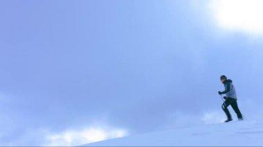 Snow Man Winter Nature Cold Adventure Walk Landscape Outdoor Mountain Sport Success White Hiking Travel Trekking People Person Season Extreme Ice Sky Walking — Stock Video