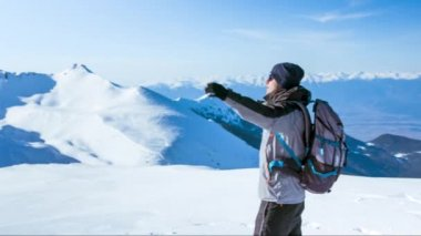 Silhouette Man Nature Face Winter Sun Spring Arms Success Freedom Top Mountain Sky Achievement People Outdoor Travel Adventure Male Blue Happiness Hiking Summit Free Happy Climbing Lifestyle Young Victory Hike Healthy Joy — Stock Video