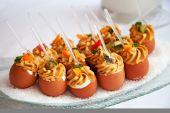 Food for cocktail on wedding party — Zdjęcie stockowe