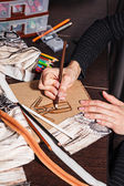 Sketches fashion designer — Stock Photo