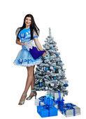 Girl in Christmas costume — Stock Photo