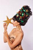 Girl with creative hair style Christmas — Stock Photo