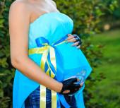 公園での妊娠中の女性 — ストック写真
