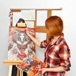 Artist paints picture — Stock Photo #65006363