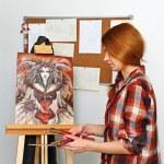 Artist paints picture — Stock Photo #65006371