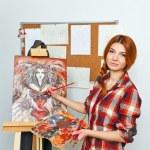 Artist paints picture — Stock Photo #65006391