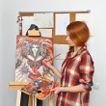Artist paints picture — Stock Photo #65006413