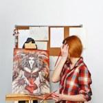 Artist paints picture — Stock Photo #65006415