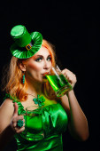 Girl wearing leprechaun — Stock Photo
