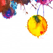 Abstract yellow rainbow ink stain on a white background — Stock Photo