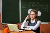 Excellent student in the classroom calculus. — Stock Photo